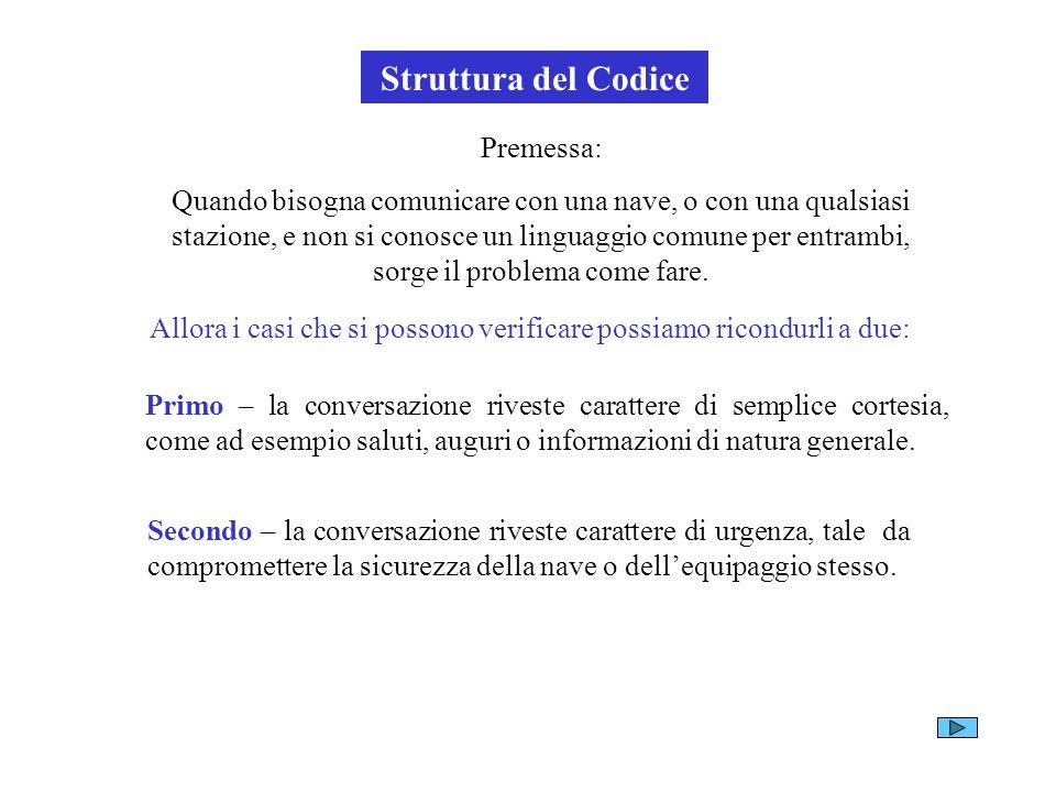 Struttura del Codice Premessa: Quando bisogna comunicare con una nave, o con una qualsiasi stazione, e non si conosce un linguaggio comune per entramb