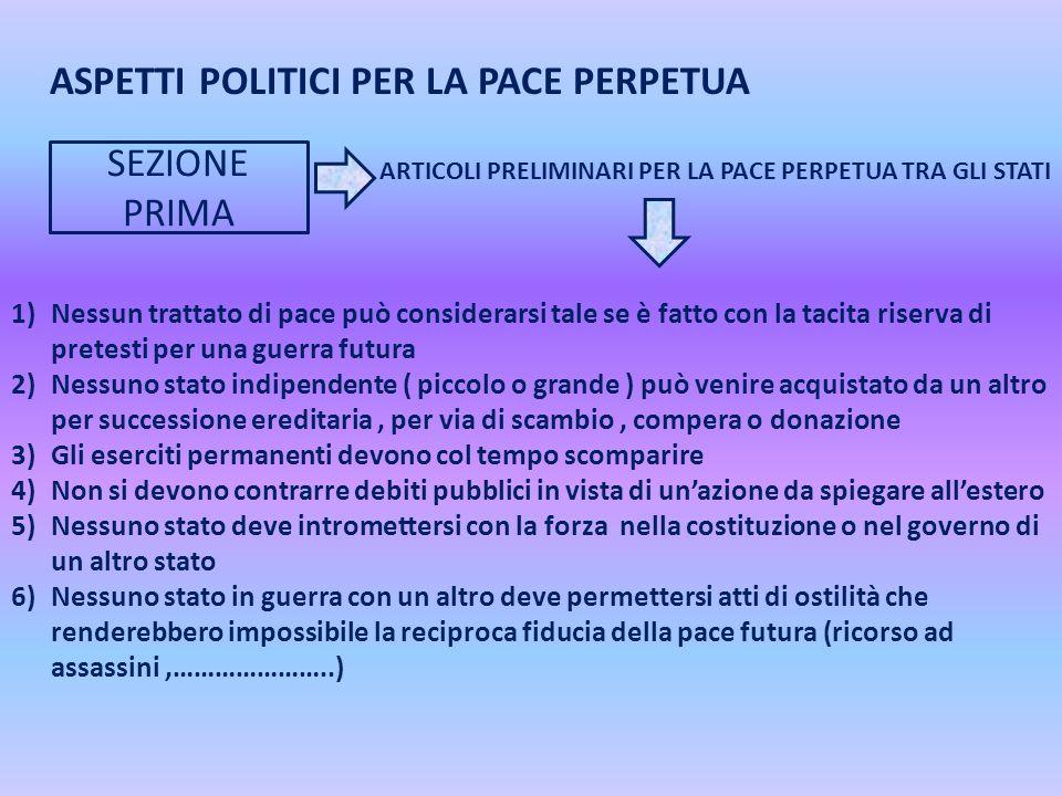 ASPETTI POLITICI PER LA PACE PERPETUA SEZIONE PRIMA ARTICOLI PRELIMINARI PER LA PACE PERPETUA TRA GLI STATI 1)Nessun trattato di pace può considerarsi