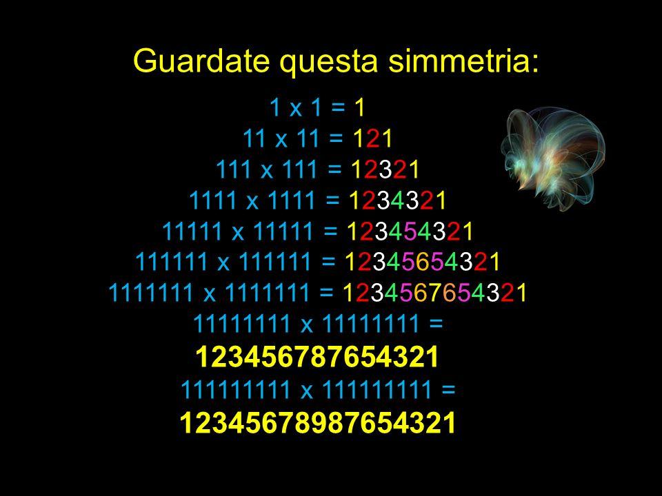 1 x 1 = 1 11 x 11 = 121 111 x 111 = 12321 1111 x 1111 = 1234321 11111 x 11111 = 123454321 111111 x 111111 = 12345654321 1111111 x 1111111 = 1234567654321 11111111 x 11111111 = 123456787654321 111111111 x 111111111 = 12345678987654321 Guardate questa simmetria:
