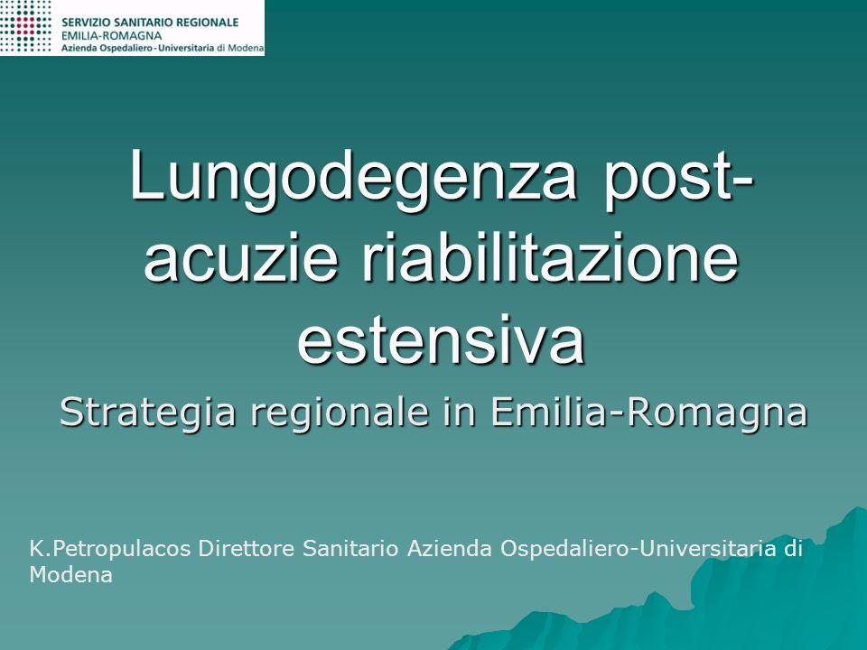 Lungodegenza post- acuzie riabilitazione estensiva Strategia regionale in Emilia-Romagna K.Petropulacos Direttore Sanitario Azienda Ospedaliero-Univer