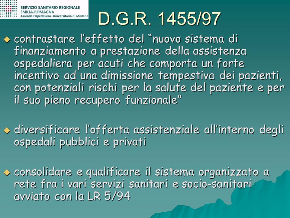 D.G.R. 1455/97 contrastare leffetto del nuovo sistema di finanziamento a prestazione della assistenza ospedaliera per acuti che comporta un forte ince