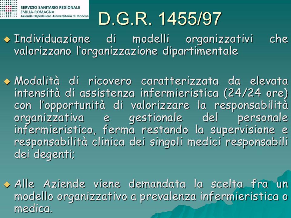 D.G.R. 1455/97 Individuazione di modelli organizzativi che valorizzano lorganizzazione dipartimentale Individuazione di modelli organizzativi che valo