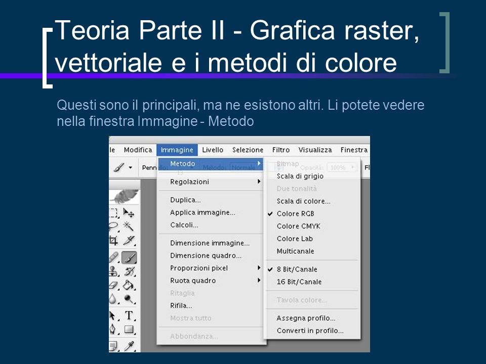 Teoria Parte II - Grafica raster, vettoriale e i metodi di colore Questi sono il principali, ma ne esistono altri.