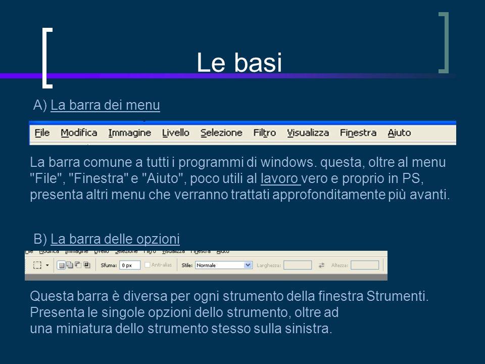 Le basi A) La barra dei menu La barra comune a tutti i programmi di windows.