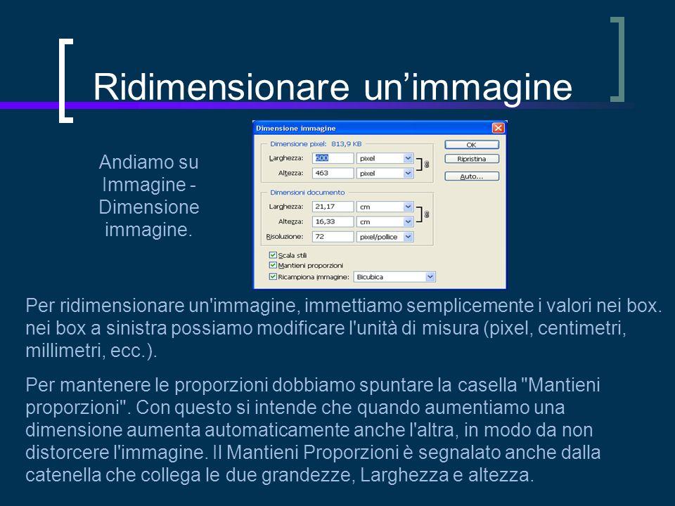 Ridimensionare unimmagine Andiamo su Immagine - Dimensione immagine.
