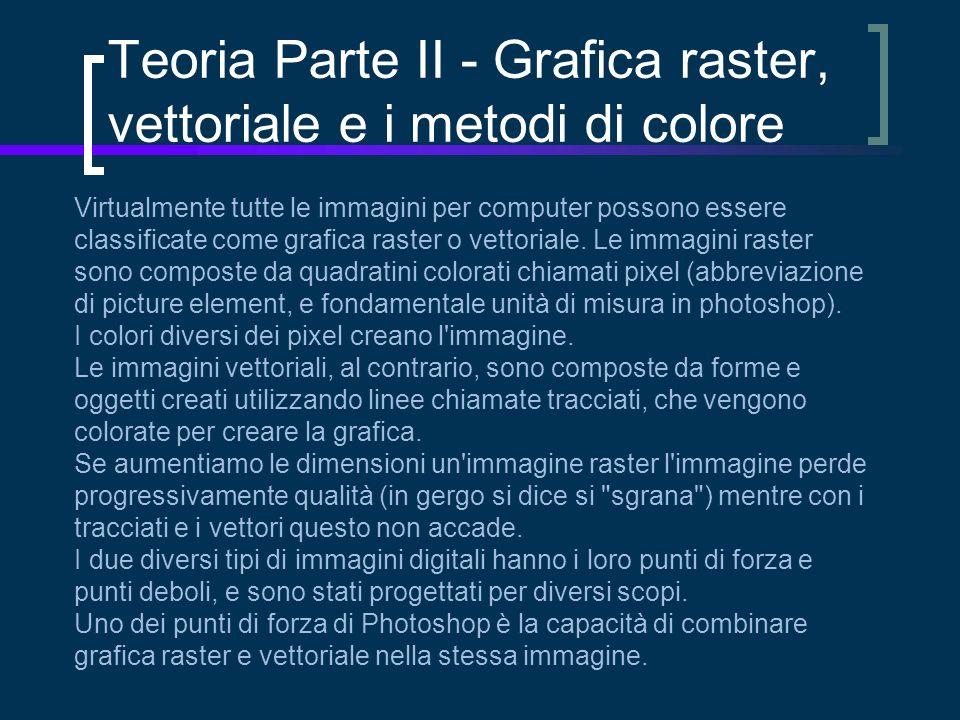 Teoria Parte II - Grafica raster, vettoriale e i metodi di colore Virtualmente tutte le immagini per computer possono essere classificate come grafica raster o vettoriale.