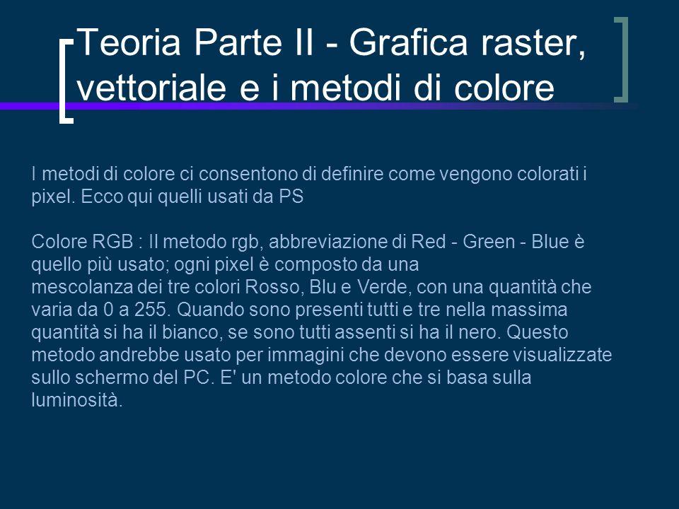Teoria Parte II - Grafica raster, vettoriale e i metodi di colore I metodi di colore ci consentono di definire come vengono colorati i pixel.