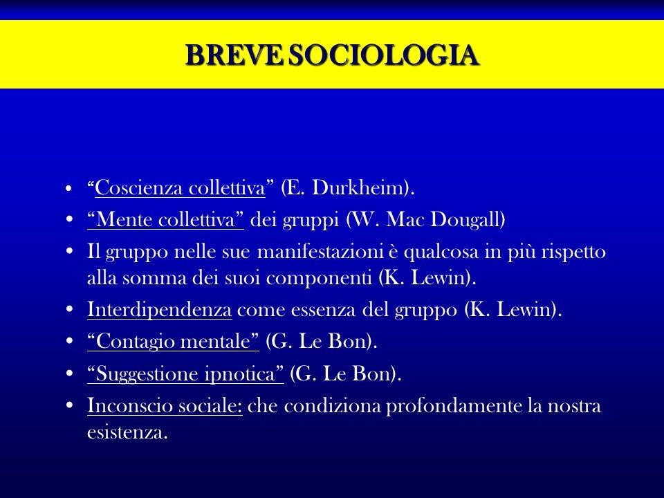 BREVE SOCIOLOGIA Coscienza collettiva (E. Durkheim). Mente collettiva dei gruppi (W. Mac Dougall) Il gruppo nelle sue manifestazioni è qualcosa in più