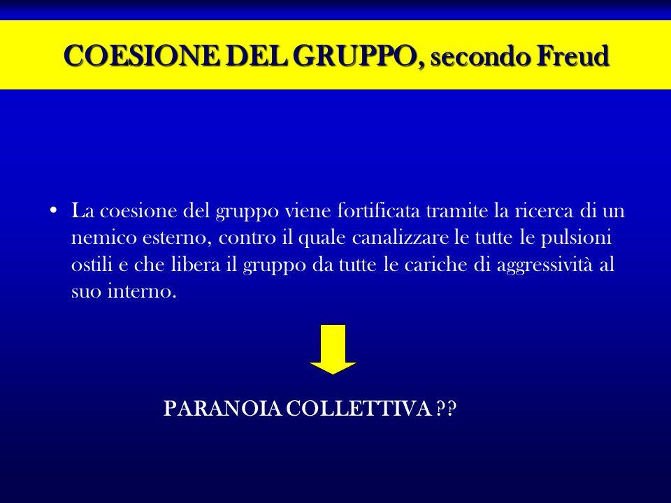 COESIONE DEL GRUPPO, secondo Freud La coesione del gruppo viene fortificata tramite la ricerca di un nemico esterno, contro il quale canalizzare le tu