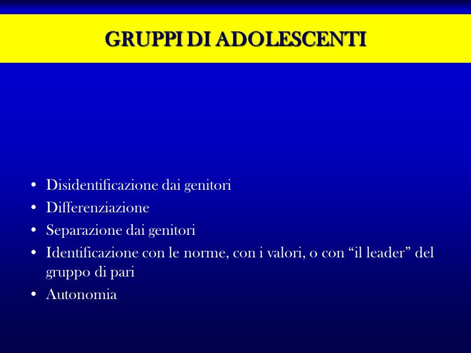 GRUPPI DI ADOLESCENTI Disidentificazione dai genitori Differenziazione Separazione dai genitori Identificazione con le norme, con i valori, o con il l