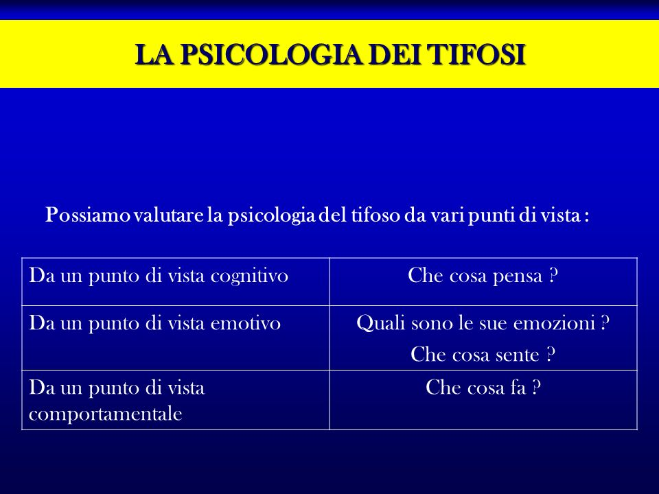 LA PSICOLOGIA DEI TIFOSI Da un punto di vista cognitivoChe cosa pensa ? Da un punto di vista emotivoQuali sono le sue emozioni ? Che cosa sente ? Da u