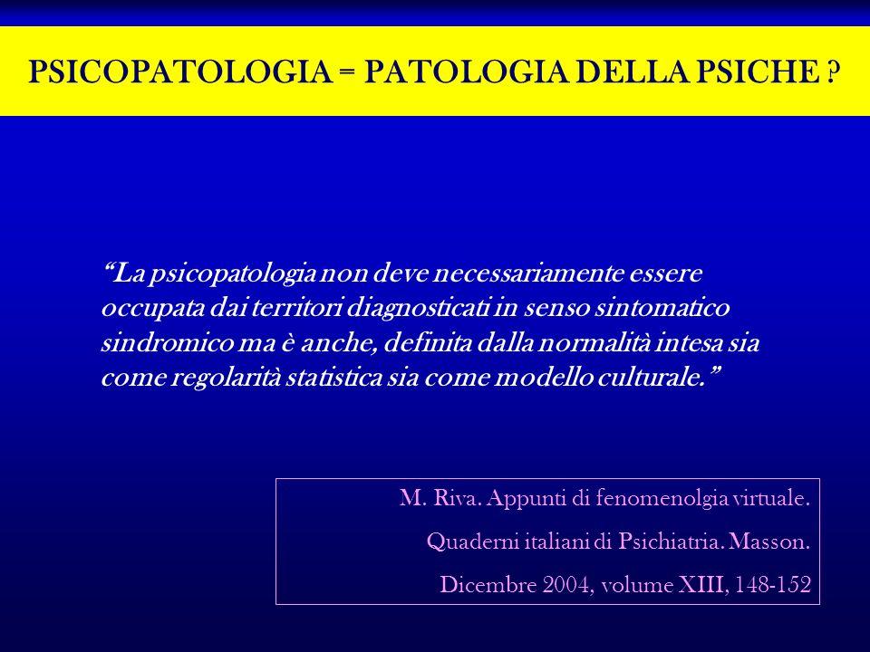 PSICOPATOLOGIA = PATOLOGIA DELLA PSICHE ? La psicopatologia non deve necessariamente essere occupata dai territori diagnosticati in senso sintomatico