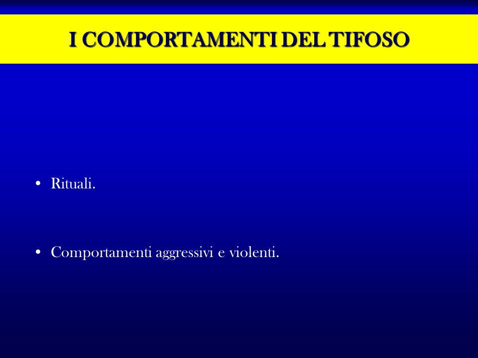 I COMPORTAMENTI DEL TIFOSO Rituali. Comportamenti aggressivi e violenti.