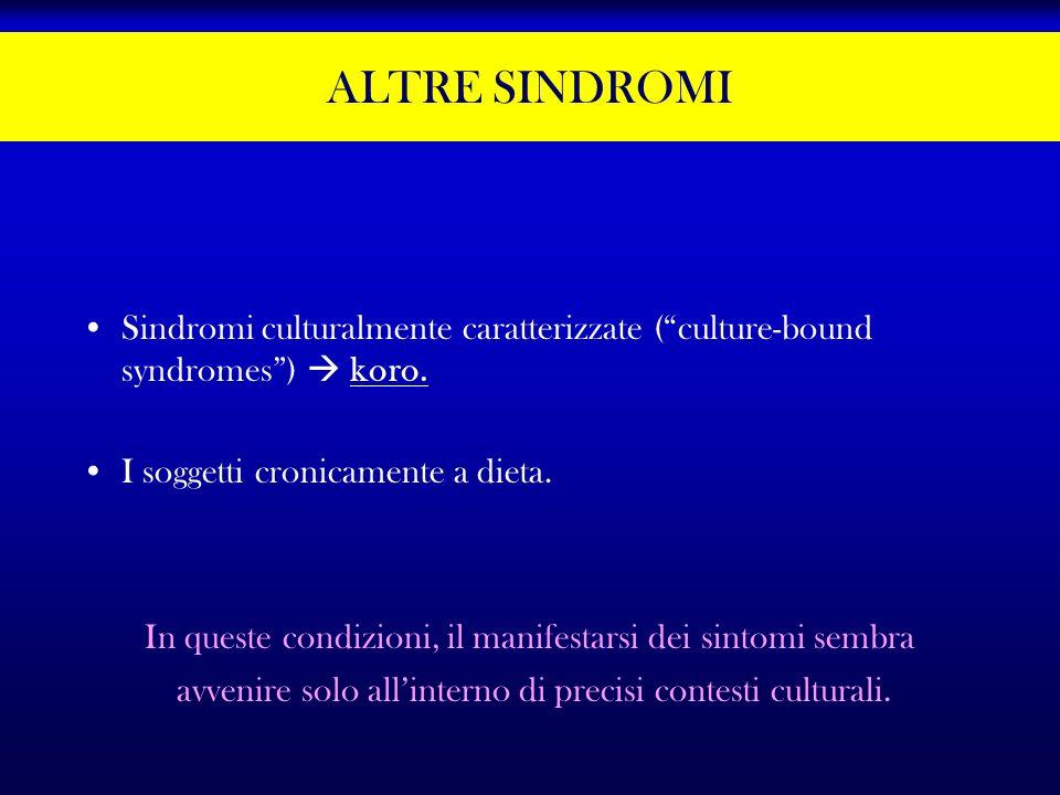 ALTRE SINDROMI Sindromi culturalmente caratterizzate (culture-bound syndromes) koro. I soggetti cronicamente a dieta. In queste condizioni, il manifes