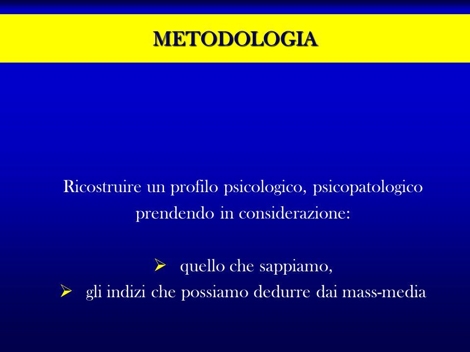 METODOLOGIA Ricostruire un profilo psicologico, psicopatologico prendendo in considerazione: quello che sappiamo, gli indizi che possiamo dedurre dai