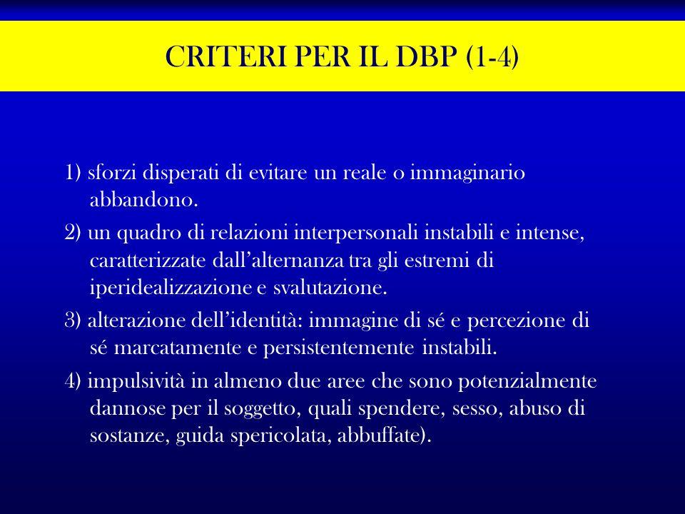 CRITERI PER IL DBP (1-4) 1) sforzi disperati di evitare un reale o immaginario abbandono. 2) un quadro di relazioni interpersonali instabili e intense