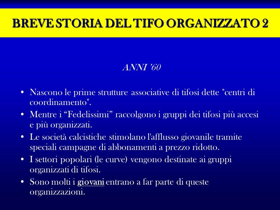 BREVE STORIA DEL TIFO ORGANIZZATO 2 ANNI 60 Nascono le prime strutture associative di tifosi dette