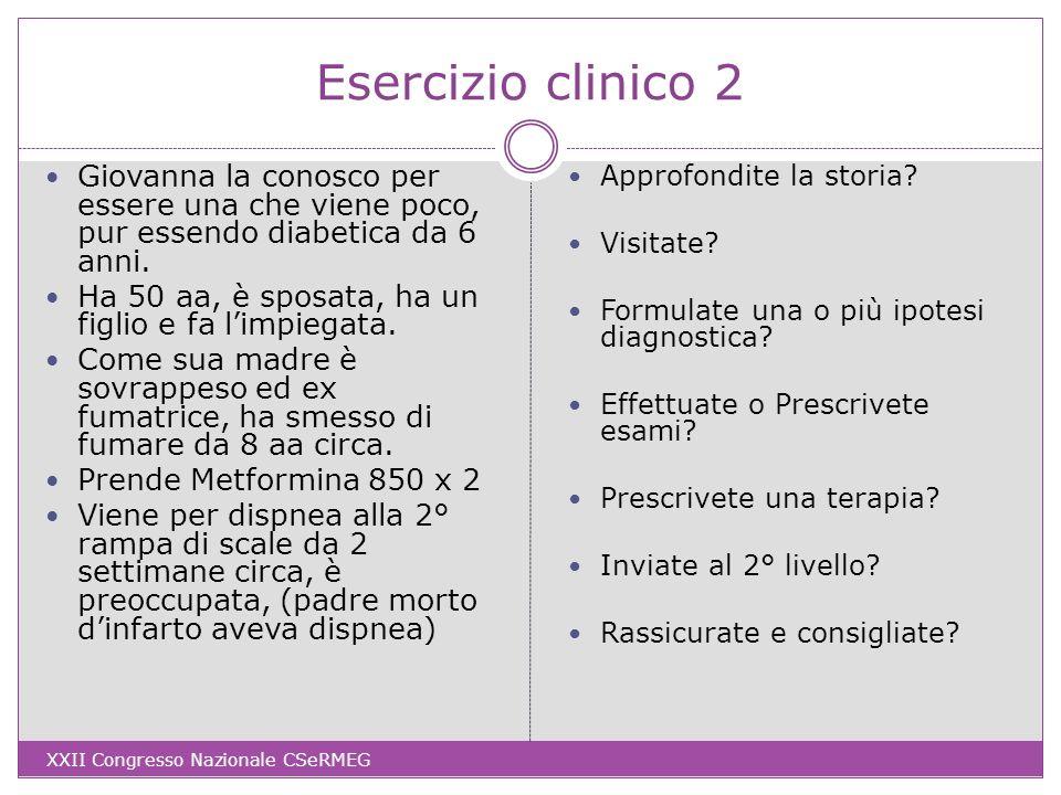 Dati clinici Menopausa a 47 aa, nega perdite ematiche, non precordialgie Obiettività polmonare e cardiaca negative, mucose rosee PA 134/78 (media di 2 misure), fc 80 R, BMI 31 (80 kg) Saturimetria 97%, Glic 158 14 mesi fa: glicata 7,1, LDL 105, creatinina 0,7, Hb 12; BMI 28 (73 kg) ECG alla diagnosi di diabete: RS 80 bpm, PQ 0,18 ms, Asse QRS 0°, BBD (oggi invariato) Spirometria (mai eseguita, oggi): FVC 88%, FEV1 95% FEV1/FVC 101% XXII Congresso Nazionale CSeRMEG