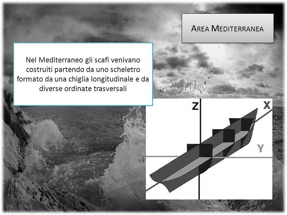 Nel Mediterraneo gli scafi venivano costruiti partendo da uno scheletro formato da una chiglia longitudinale e da diverse ordinate trasversali