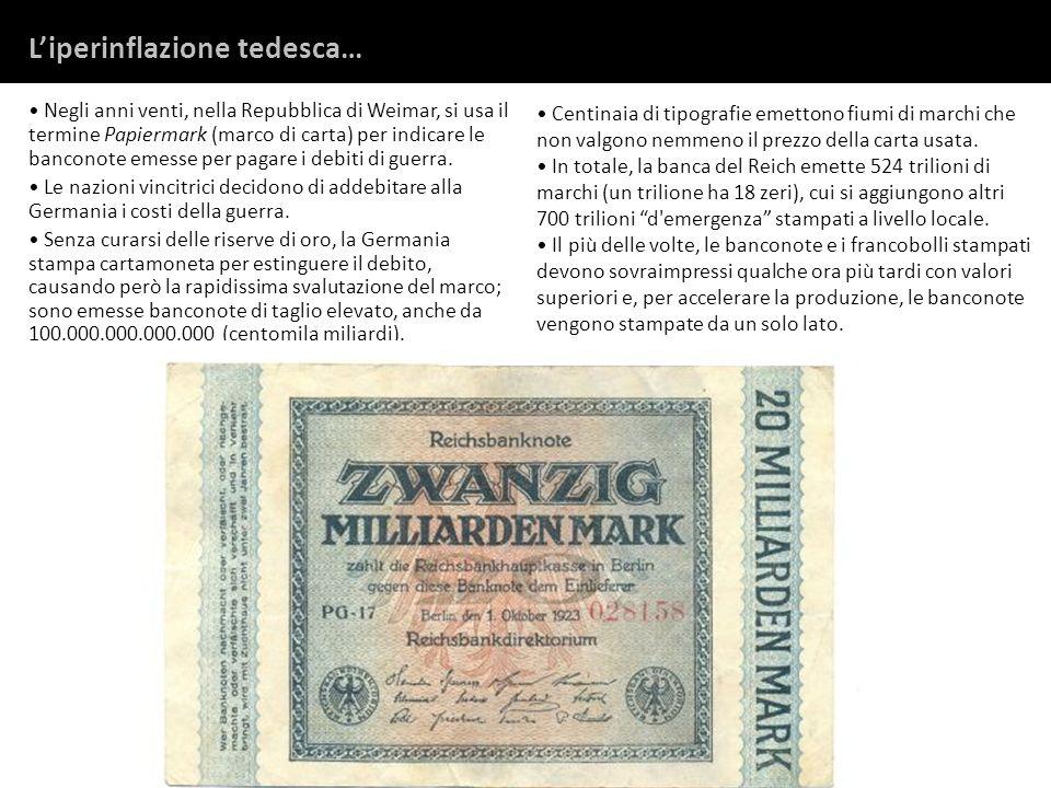 Negli anni venti, nella Repubblica di Weimar, si usa il termine Papiermark (marco di carta) per indicare le banconote emesse per pagare i debiti di gu