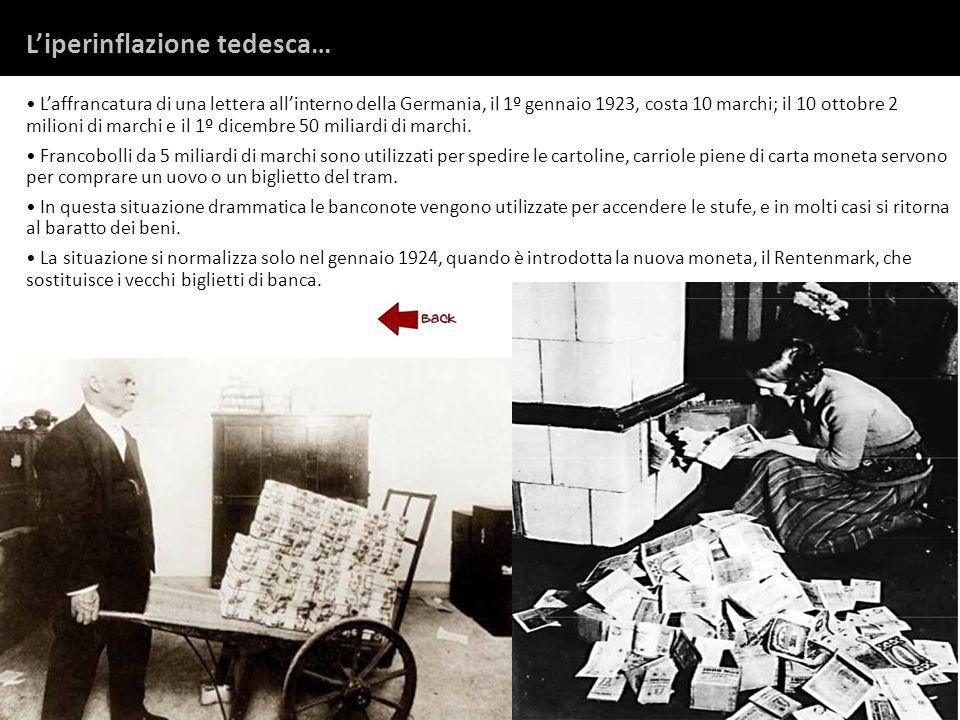Laffrancatura di una lettera allinterno della Germania, il 1º gennaio 1923, costa 10 marchi; il 10 ottobre 2 milioni di marchi e il 1º dicembre 50 mil