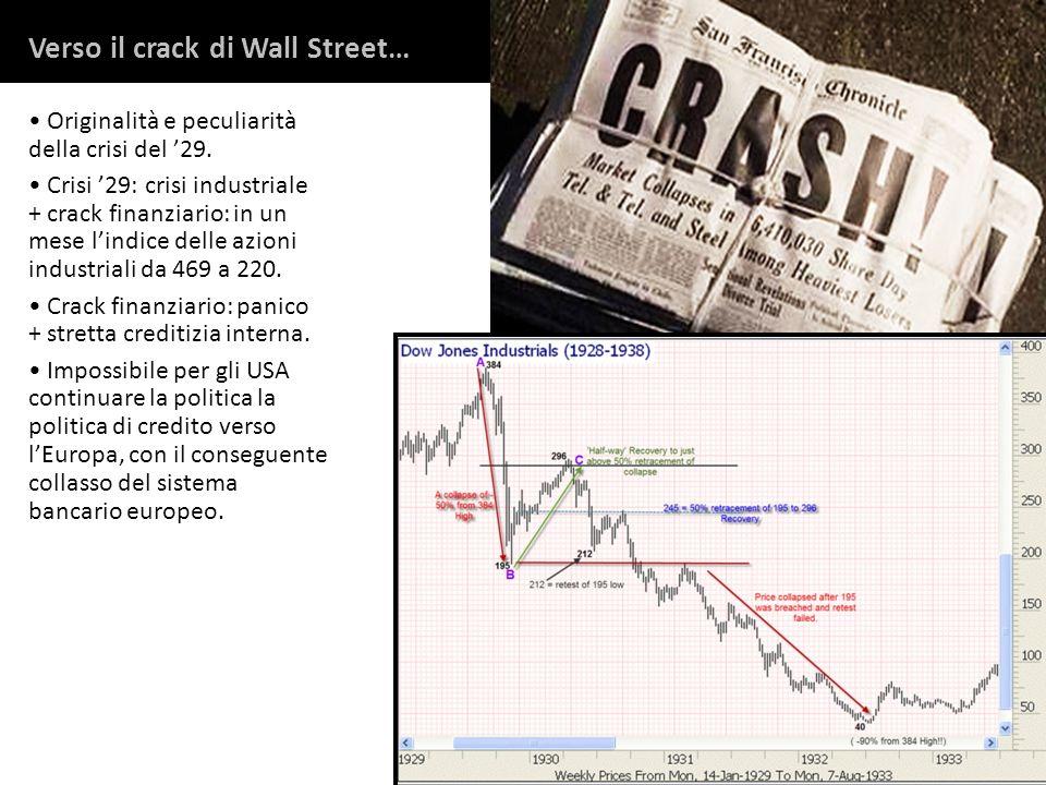 Originalità e peculiarità della crisi del 29. Crisi 29: crisi industriale + crack finanziario: in un mese lindice delle azioni industriali da 469 a 22