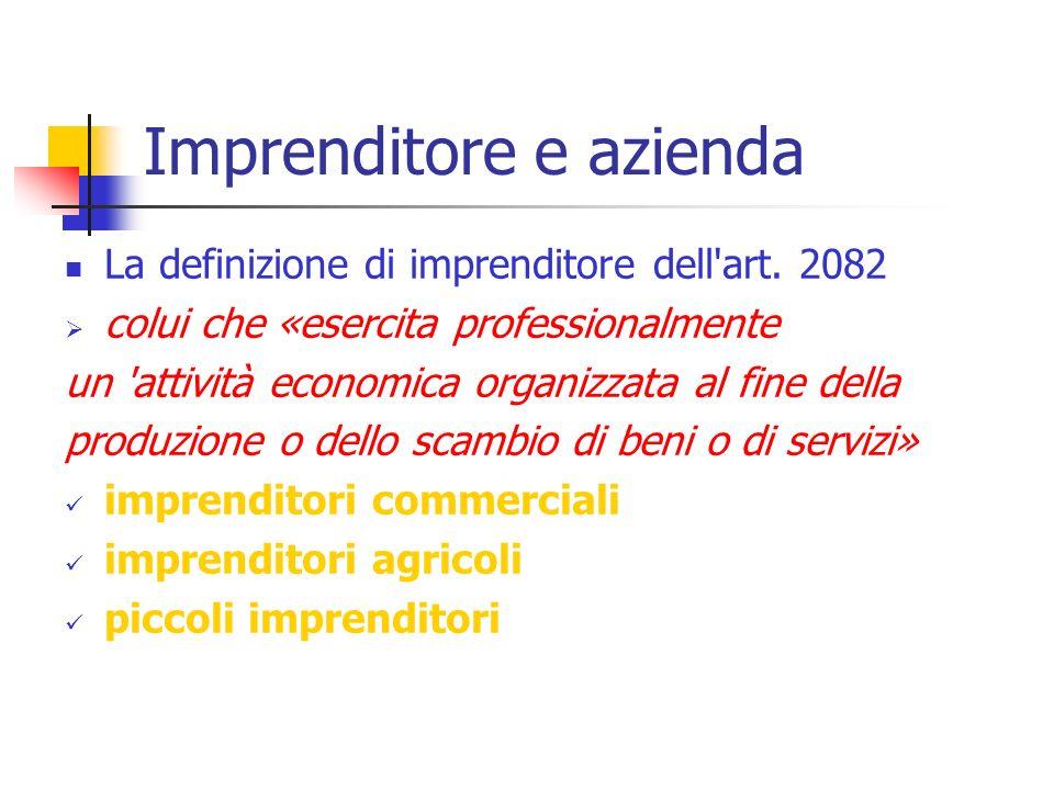 La definizione di imprenditore dell'art. 2082 colui che «esercita professionalmente un 'attività economica organizzata al fine della produzione o dell