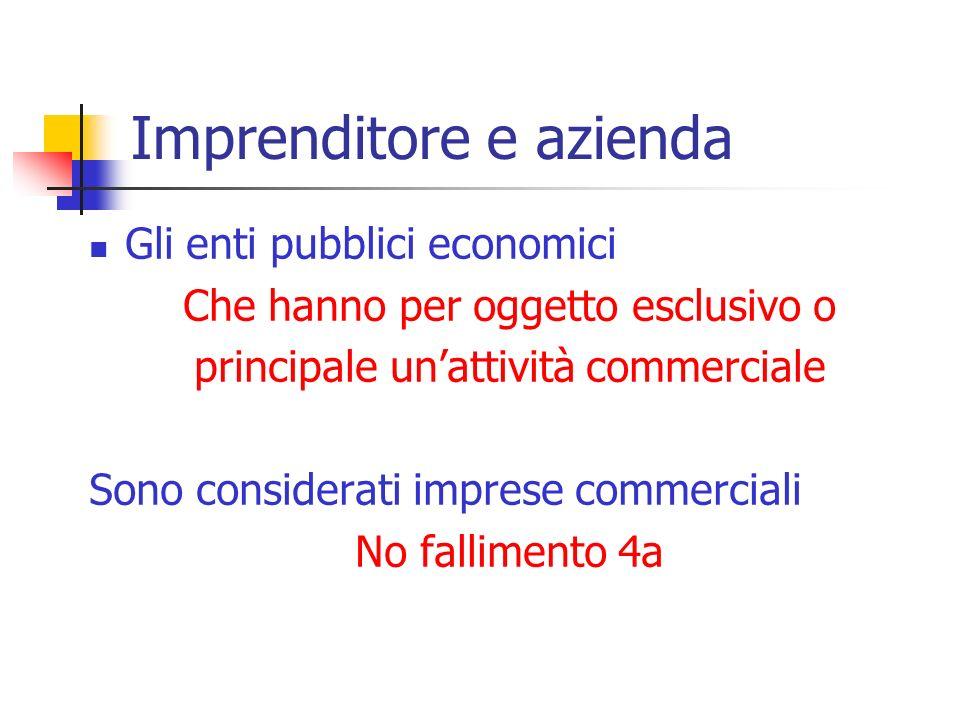 Gli enti pubblici economici Che hanno per oggetto esclusivo o principale unattività commerciale Sono considerati imprese commerciali No fallimento 4a