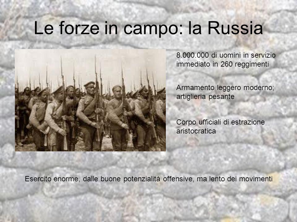 Le forze in campo: la Russia 8.000.000 di uomini in servizio immediato in 260 reggimenti Armamento leggero moderno; artiglieria pesante Corpo ufficial