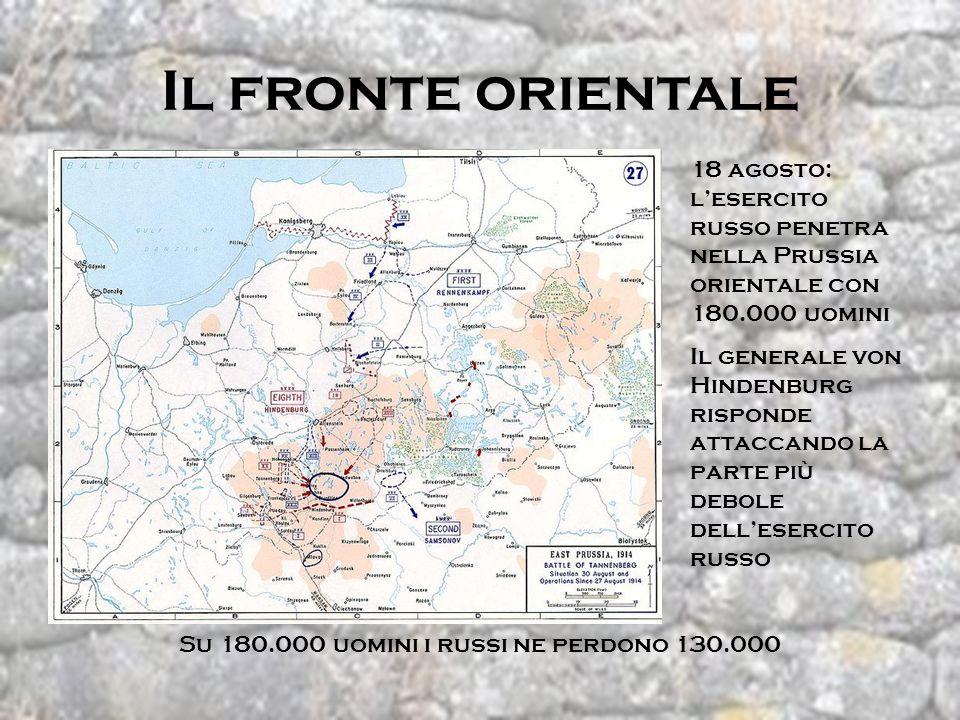 Il fronte orientale 18 agosto: lesercito russo penetra nella Prussia orientale con 180.000 uomini Il generale von Hindenburg risponde attaccando la pa
