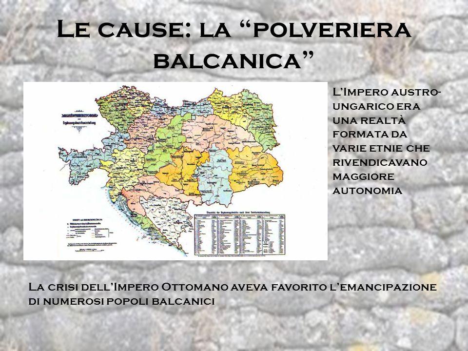 Le cause: la polveriera balcanica LImpero austro- ungarico era una realtà formata da varie etnie che rivendicavano maggiore autonomia La crisi dellImp