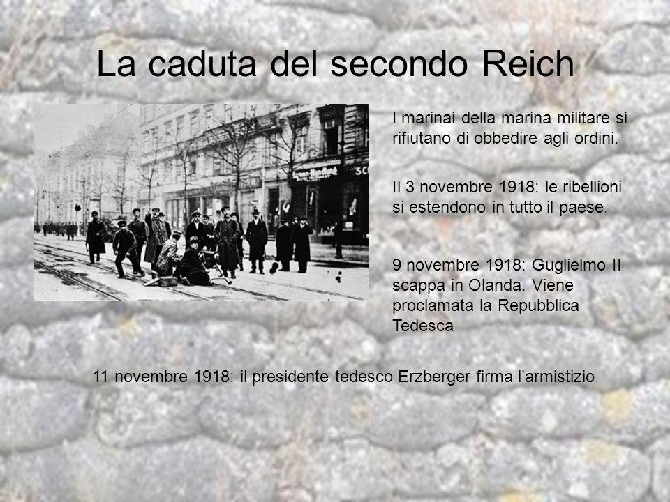 La caduta del secondo Reich I marinai della marina militare si rifiutano di obbedire agli ordini. Il 3 novembre 1918: le ribellioni si estendono in tu