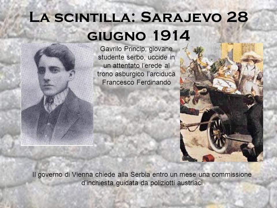 La scintilla: Sarajevo 28 giugno 1914 Gavrilo Princip, giovane studente serbo, uccide in un attentato lerede al trono asburgico larciduca Francesco Fe