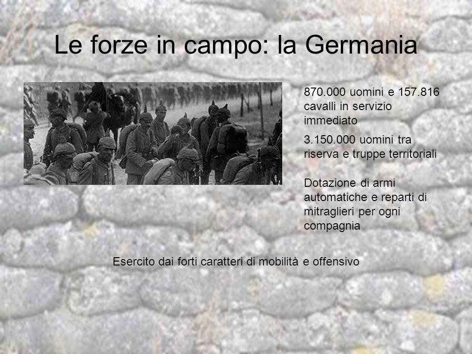 Le forze in campo: la Germania 870.000 uomini e 157.816 cavalli in servizio immediato 3.150.000 uomini tra riserva e truppe territoriali Dotazione di