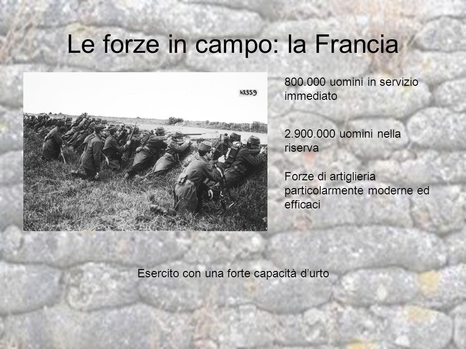 Le forze in campo: la Francia 800.000 uomini in servizio immediato 2.900.000 uomini nella riserva Forze di artiglieria particolarmente moderne ed effi
