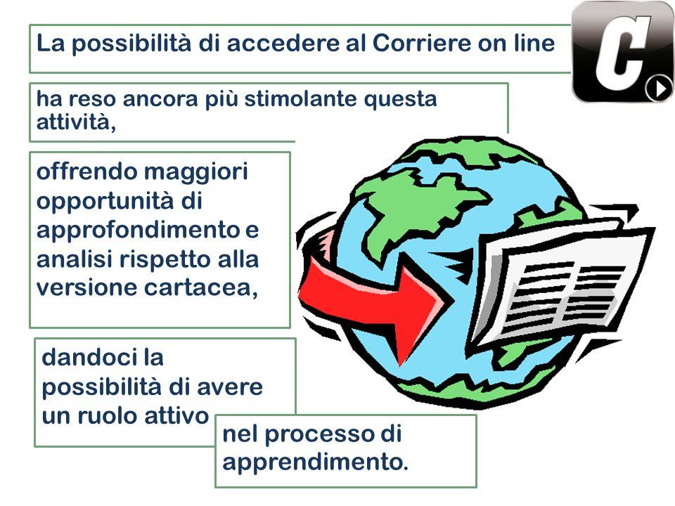 ha reso ancora più stimolante questa attività, La possibilità di accedere al Corriere on line dandoci la possibilità di avere un ruolo attivo offrendo