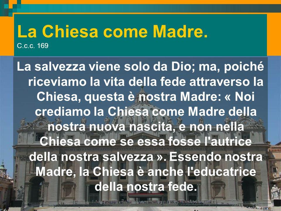 La Chiesa come Madre. C.c.c. 169 La salvezza viene solo da Dio; ma, poiché riceviamo la vita della fede attraverso la Chiesa, questa è nostra Madre: «