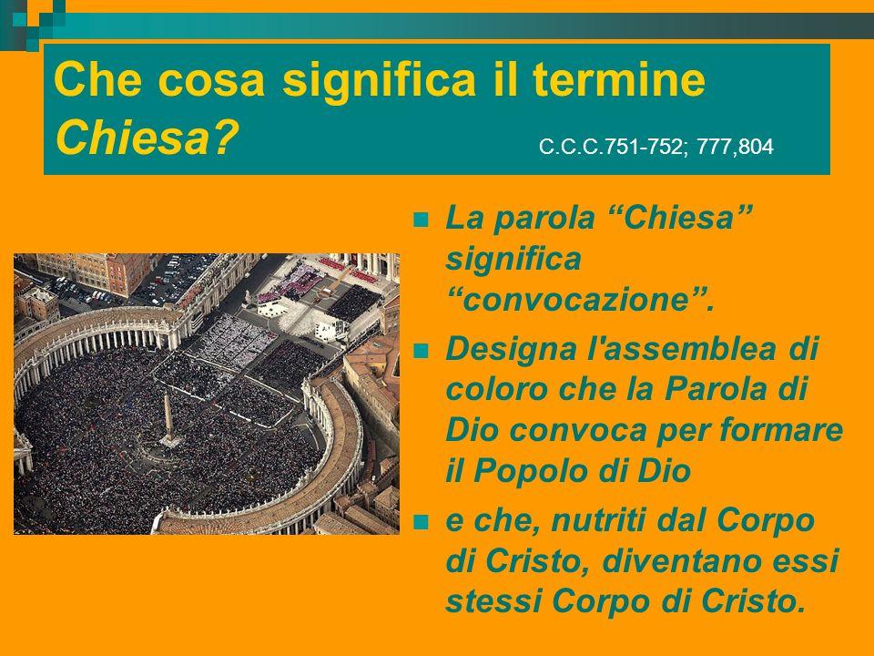 Che cosa significa il termine Chiesa? C.C.C.751-752; 777,804 La parola Chiesa significa convocazione. Designa l'assemblea di coloro che la Parola di D