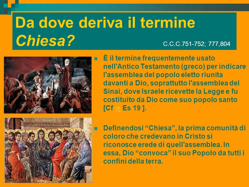 Da dove deriva il termine Chiesa? C.C.C.751-752; 777,804 È il termine frequentemente usato nell'Antico Testamento (greco) per indicare l'assemblea del