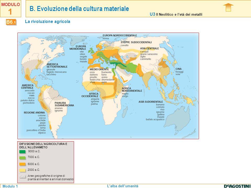 1 Modulo 1 MODULO Lalba dellumanità DIFUSIONE DELLAGRICOLTURA E DELLALLEVAMETO 9000 a.C. 7000 a.C. 5000 a.C. 2000 a.C. Aree geografiche di origine di