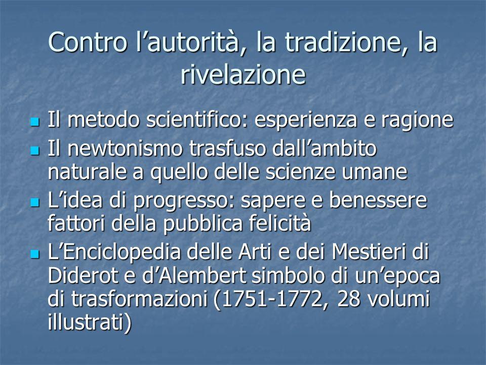 Contro lautorità, la tradizione, la rivelazione Il metodo scientifico: esperienza e ragione Il metodo scientifico: esperienza e ragione Il newtonismo