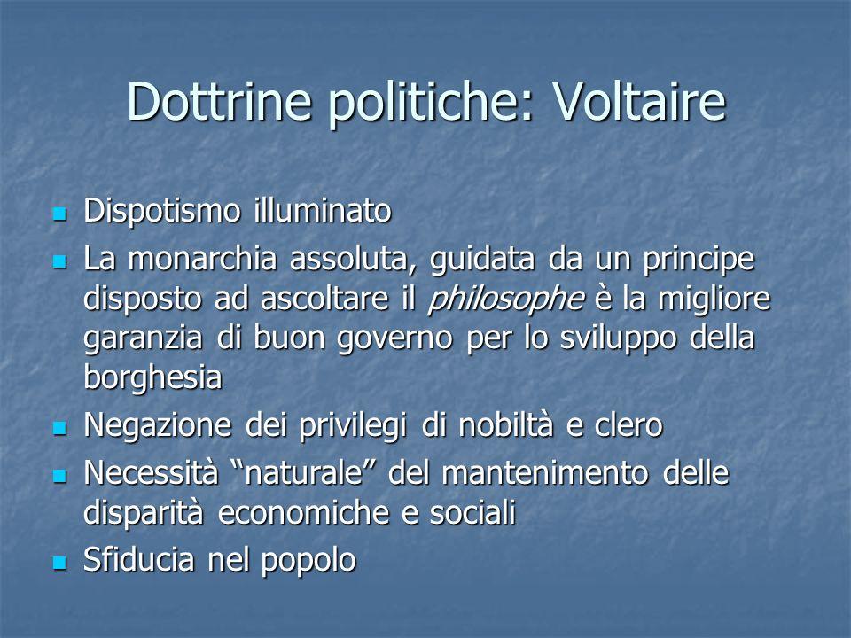 Dottrine politiche: Voltaire Dispotismo illuminato Dispotismo illuminato La monarchia assoluta, guidata da un principe disposto ad ascoltare il philos