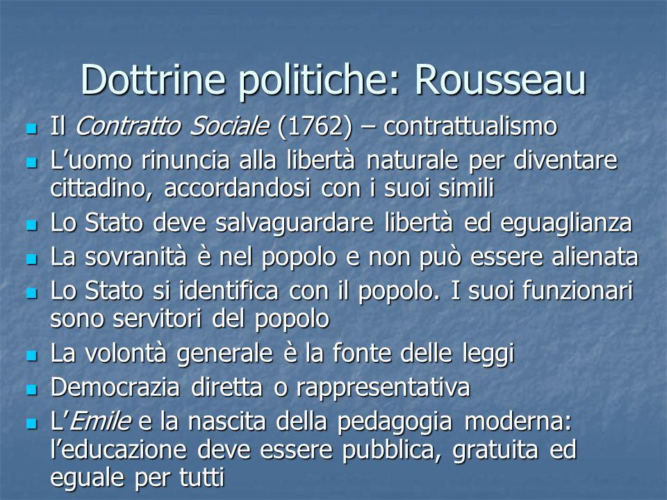 Dottrine politiche: Rousseau Il Contratto Sociale (1762) – contrattualismo Il Contratto Sociale (1762) – contrattualismo Luomo rinuncia alla libertà n