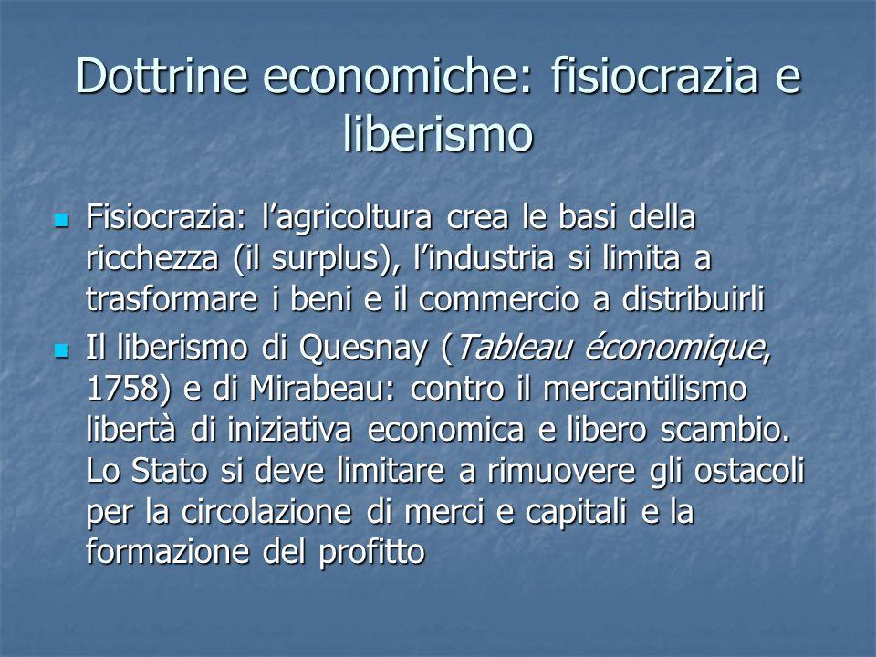 Dottrine economiche: fisiocrazia e liberismo Fisiocrazia: lagricoltura crea le basi della ricchezza (il surplus), lindustria si limita a trasformare i