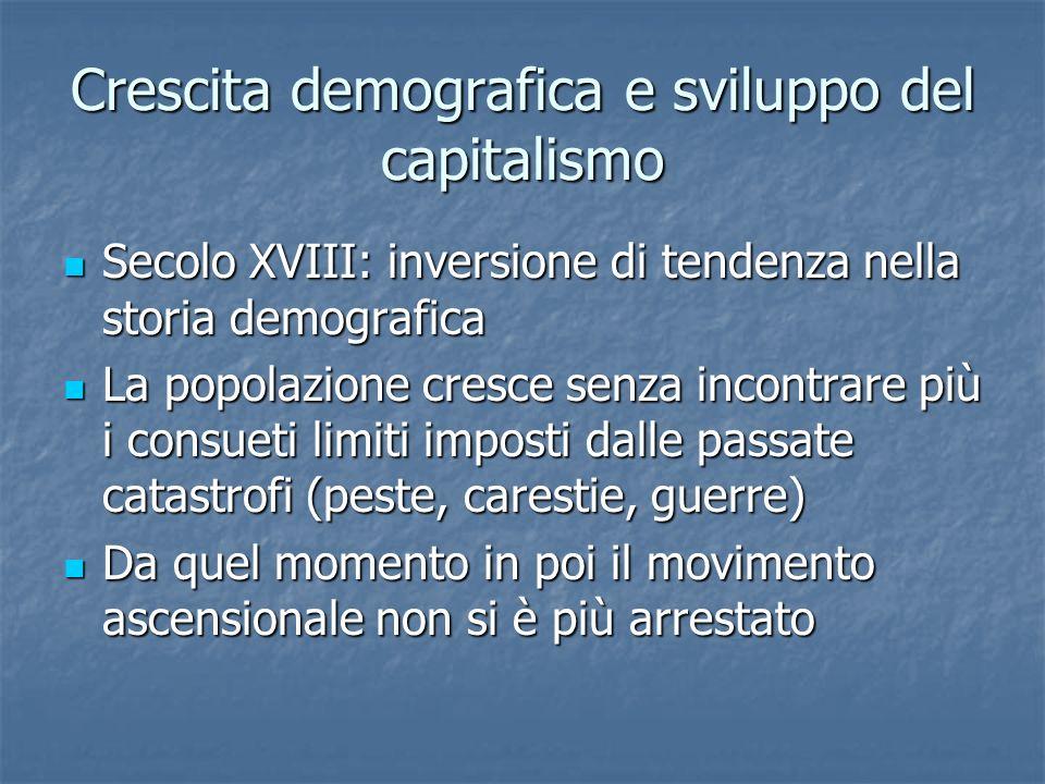 Crescita demografica e sviluppo del capitalismo Secolo XVIII: inversione di tendenza nella storia demografica Secolo XVIII: inversione di tendenza nel