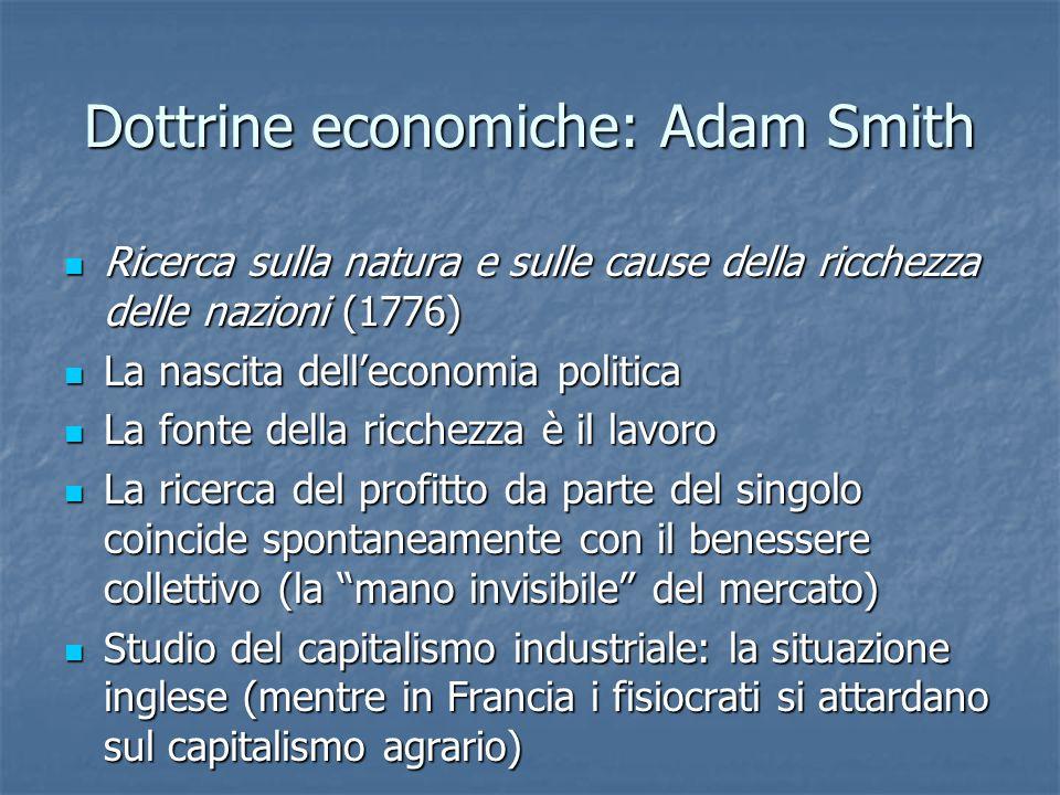 Dottrine economiche: Adam Smith Ricerca sulla natura e sulle cause della ricchezza delle nazioni (1776) Ricerca sulla natura e sulle cause della ricch