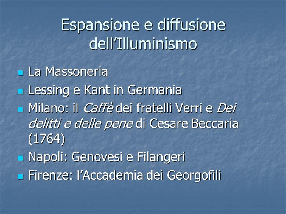 Espansione e diffusione dellIlluminismo La Massoneria La Massoneria Lessing e Kant in Germania Lessing e Kant in Germania Milano: il Caffè dei fratell