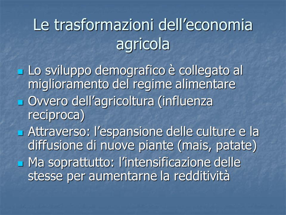 Le trasformazioni delleconomia agricola Lo sviluppo demografico è collegato al miglioramento del regime alimentare Lo sviluppo demografico è collegato