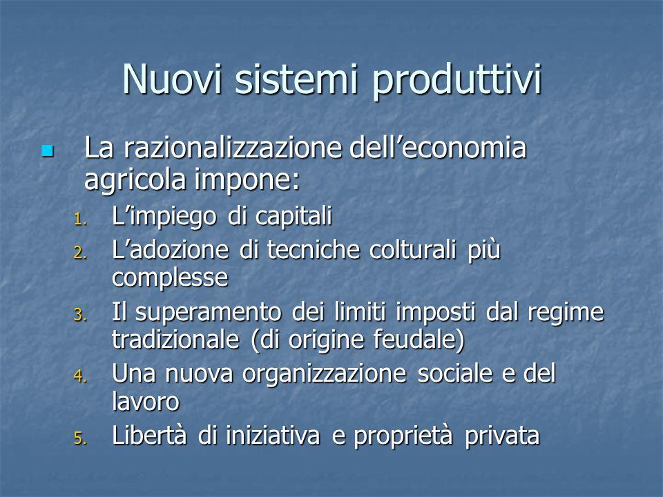 Nuovi sistemi produttivi La razionalizzazione delleconomia agricola impone: La razionalizzazione delleconomia agricola impone: 1. Limpiego di capitali