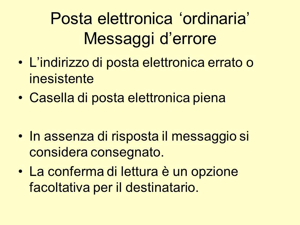 Posta elettronica ordinaria Messaggi derrore Lindirizzo di posta elettronica errato o inesistente Casella di posta elettronica piena In assenza di ris